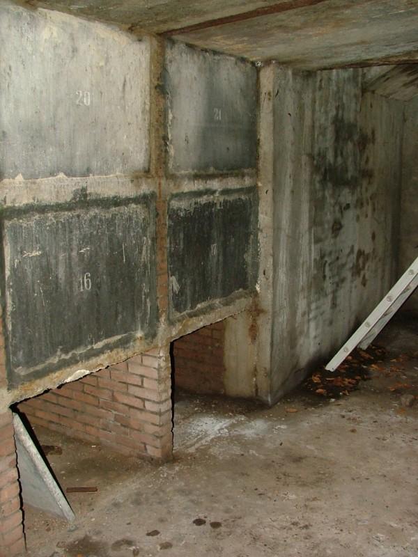 Enige grafnissen in de eerste priesterkelder. De ladder staat tegen de fundering van het zware grafmonument.