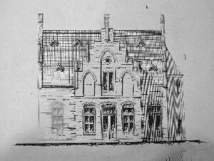 Een schets van het doodgravershuis van begraafplaats Daalseweg