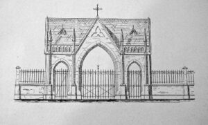 Een schets van de toegangspoort van begraafplaats Daalseweg